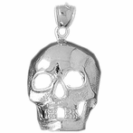 Sterling Silver Skull Pendant (Rhodium, Yellow or Rose Gold-plated)
