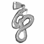 Sterling Silver Snake Pendant (Rhodium, Yellow or Rose Gold-plated)