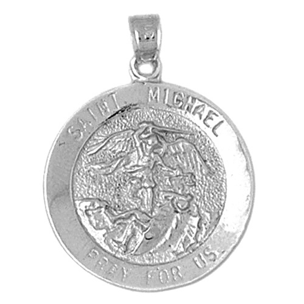 Sterling silver 925 st michael pendant sterling silver pendants sterling silver st michael pendant rhodium yellow rose or black gold plated aloadofball Choice Image