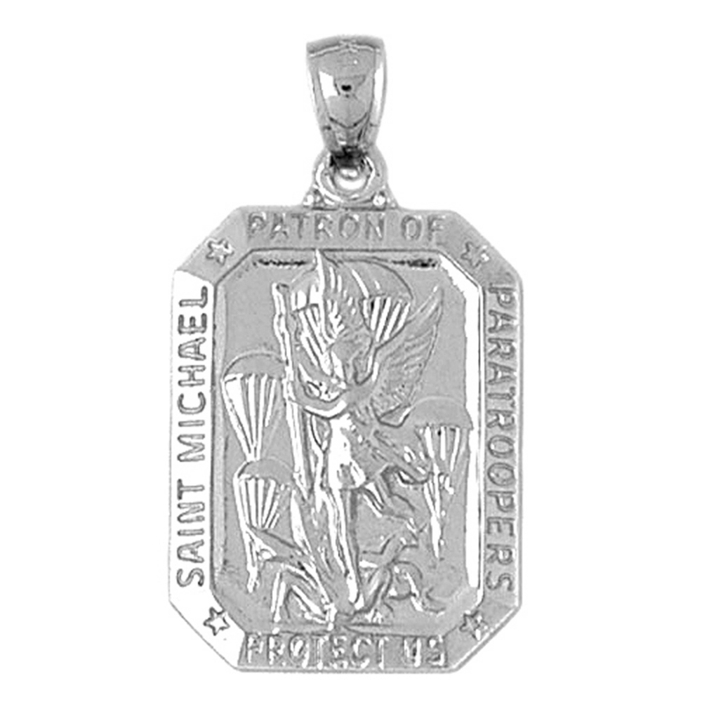 Sterling silver 925 st michael pendant sterling silver pendants sterling silver st michael pendant rhodium yellow rose or black gold plated aloadofball Gallery
