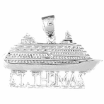 Sterling Silver St. Thomas Cruise Ship Pendant (Rhodium, Yellow or Rose Gold-plated)