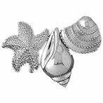 Sterling Silver Starfish With Shells Pendant (Rhodium, Yellow or Rose Gold-plated)