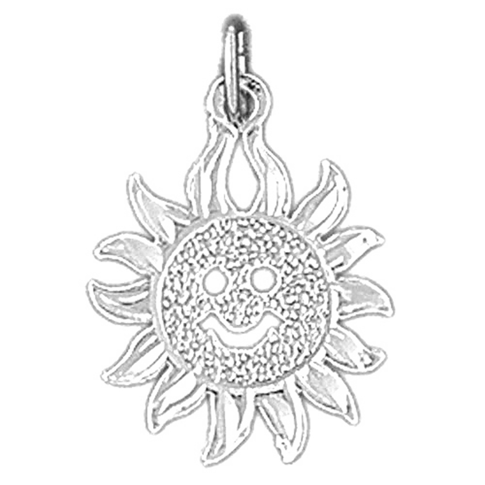 Sterling silver 925 sun pendant sterling silver pendants at sterling silver sun pendant rhodium yellow rose or black gold plated aloadofball Gallery