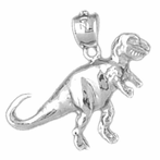 Sterling Silver T-Rex Dinosaur Pendant (Rhodium, Yellow or Rose Gold-plated)