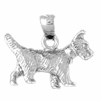 Sterling Silver Terrier Dog Pendant (Rhodium, Yellow or Rose Gold-plated)