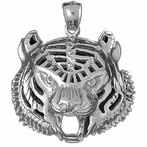 Sterling Silver Tiger Head Pendant (Rhodium, Yellow or Rose Gold-plated)