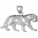 Sterling Silver Tiger Pendant (Rhodium, Yellow or Rose Gold-plated)