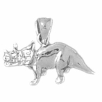 Sterling Silver Triceratops Dinosaur Pendant (Rhodium, Yellow or Rose Gold-plated)