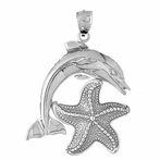 Sterling Silver Tricolor Dolphin With Starfish Pendant (Rhodium, Yellow or Rose Gold-plated)