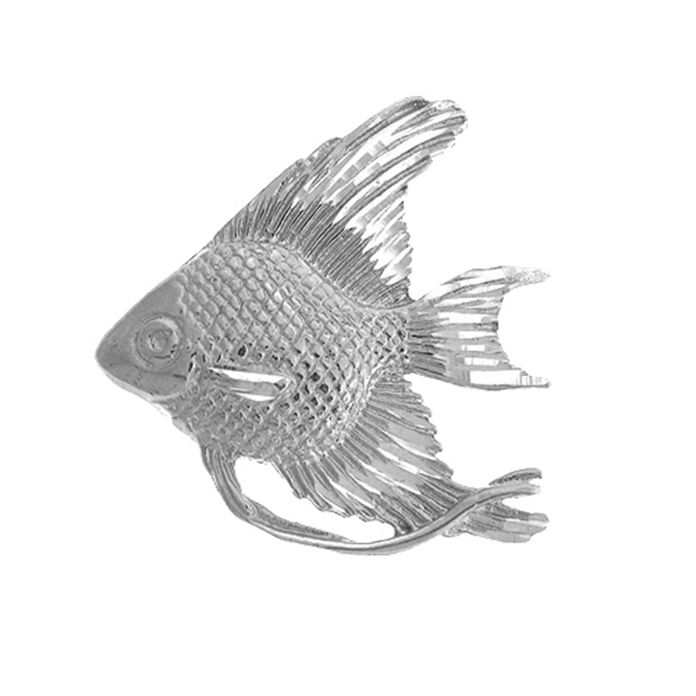 14K Yellow Gold-plated 925 Silver Tropical Angelfish Pendant Jewels Obsession Silver Tropical Angelfish Pendant
