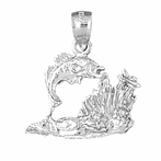 Sterling Silver Tropical Fish And Coral Pendant (Rhodium, Yellow or Rose Gold-plated)