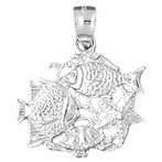 Sterling Silver Tropical Fish, Coral,And Starfish Pendant (Rhodium, Yellow or Rose Gold-plated)