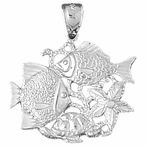 Sterling Silver Tropical Fish, Coral, Turtle, And Starfish Pendant (Rhodium, Yellow or Rose Gold-plated)