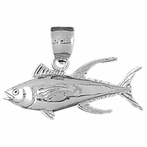 Sterling Silver Tuna Pendant (Rhodium, Yellow or Rose Gold-plated)