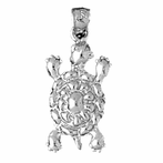 Sterling Silver Turtle Pendant (Rhodium, Yellow or Rose Gold-plated)