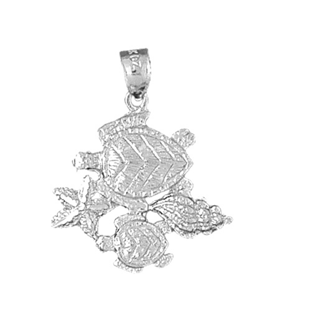 Silver Yellow Plated Shell Pendant 23mm