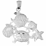 Sterling Silver Turtle, Starfish, Tropical Fish, And Shell Pendant (Rhodium, Yellow or Rose Gold-plated)
