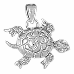 Sterling Silver Turtles 3D Moveable Pendant (Rhodium, Yellow or Rose Gold-plated)