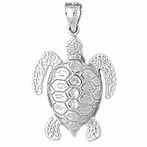 Sterling Silver Turtles Pendant (Rhodium, Yellow or Rose Gold-plated)