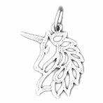 Sterling Silver Unicorn Pendant (Rhodium, Yellow or Rose Gold-plated)
