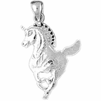 Sterling Silver Unicorns Pendant (Rhodium, Yellow or Rose Gold-plated)