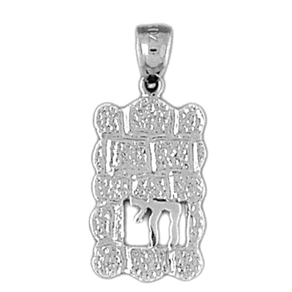 26mm Silver Yellow Plated Wailing Wall Pendant