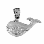 Sterling Silver Whale Pendant (Rhodium, Yellow or Rose Gold-plated)