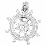 Sterling Silver Wheel Pendant (Rhodium, Yellow or Rose Gold-plated)