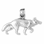 Sterling Silver Wolf Pendant (Rhodium, Yellow or Rose Gold-plated)