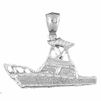 Sterling Silver Yatch Pendant (Rhodium, Yellow or Rose Gold-plated)