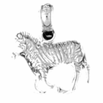 Sterling Silver Zebra Pendant (Rhodium, Yellow or Rose Gold-plated)