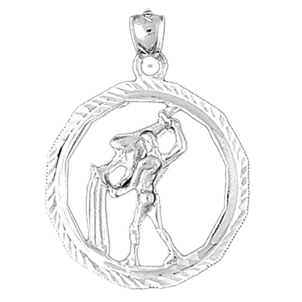 Aquarius Pendant with 18 Necklace Aquarius Necklace Jewels Obsession Zodiac 14K Yellow Gold-plated 925 Silver Zodiac