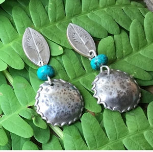 Silver Angel Wing Earrings with Turquoise