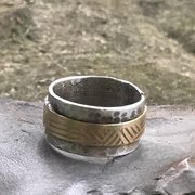 Sterling Silver and Brass Ring. Hammered Silver and Brass Ring. Valentine's Ring for Him or Her.