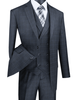 1920s Charcoal Square Plaid Mens Suit 3 Piece Vinci V2RW-13