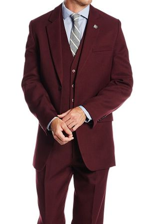 1920s Mens Suits Burgundy Vintage Style 3 Pc. Suny 4017
