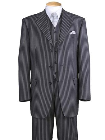 1920s Mens 3 Piece Suit Grey Stripe 3 Button Milano 5802V7