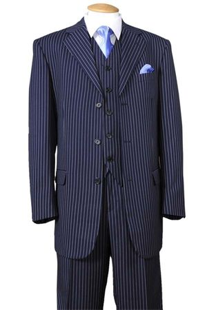 1920s Mens 3 Piece Suit Navy Blue Stripe Milano 5802V7
