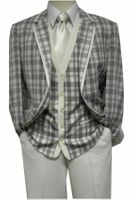 Blu Martini Mens 1920s Style Cream Plaid Ice Trio Suit 5226-011 Size 44R Final Sale