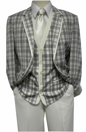 Blu Martini Mens 1920s Style Cream Plaid Ice Trio Vest Suit 5226-011 IS - click to enlarge