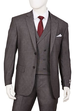 1920s Vintage Style Suit for Men Gray Plaid 3 Piece F62SQ - click to enlarge