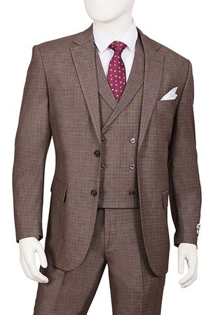 1920s Vintage Style Suit for Men Cedar Brown Plaid 3 Piece F62SQ - click to enlarge