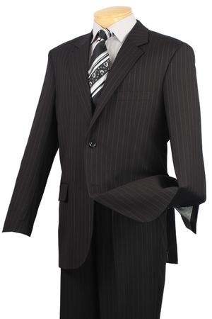 Men's Black Pinstripe Suit Vinci 2RS-16