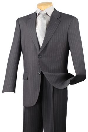 Men's Charcoal Gray Pinstripe Suit Vinci 2RS-16