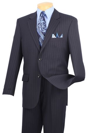 Pinstripe Suit Men's Navy Blue Vinci 2RS-16