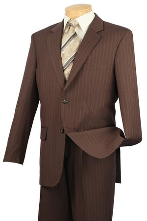 Men's Toffee Brown Pinstripe Suit Vinci 2RS-16