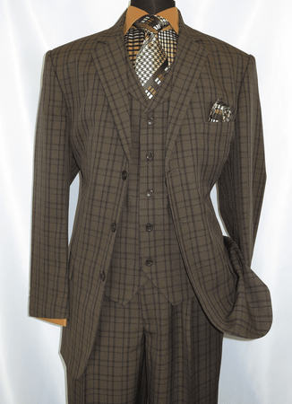 3 Button 3 Piece Suit Mens Brown Plaid 1920s Fortino 5802V6