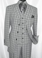 3 Button 3 Piece Suit Mens Grey Plaid 1920s Fortino 5802V6