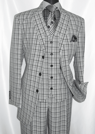 3 Button 3 Piece Suit Mens Grey Plaid 1920s Fortino 5802V6 - click to enlarge