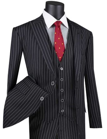 Men's Black Gangster Stripe Suit with Vest Vinci V2RS-9
